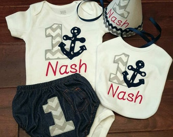 Baby boy 1st nautical first birthday cake smash outfit with hat, personalized anchor birthday outfit boy or girl 1 birthday shirt romper.
