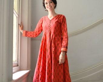 Madurai-Dress,Calf Length,Hand Block Printed,Hand Loom,Bohemian,Grey,Blue,Casual,Occasional,Pure Cotton,Handmade,Ethical Fashion,Panelled