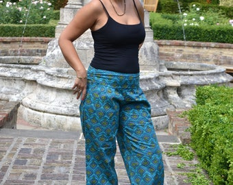 India-Trousers/Pants,Side Pockets,Wide leg,Straight Line,Meditation,Lounge Wear,Relaxed Fit,Bohemian,Ethical Fashion,Handcrafted,Turquoise