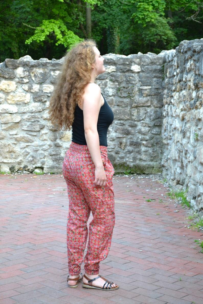 Amber-TrousersPants,Side Pockets,Floral,Pure Cotton,Casual,Meditation,Holiday,Harem Pants,Bohemian,Ethical Fashion,Handmade