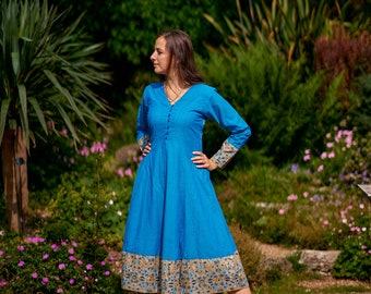 Nerissa-Dress,Calf Length,Hand Loom Cotton,Block Printed,Bohemian,Blue,Grey,Casual,Occasional,Pure Cotton,Handmade,Ethical Fashion,Panelled