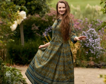 Ramani-Dress,A-line,Calf Length,Bohemian,Holiday,Pure Cotton,Hand Screen Printed,Green,Blue,Handmade,Ethical Fashion,Spring-Summer-Autumn