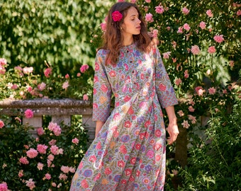 Meadow-Dress,A-line,Calf Length,Bohemian,Holiday,Pure Cotton,Hand Block Printed,Blue,Pink,Handmade,Ethical Fashion,Spring-Summer-Autumn