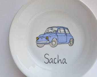 Plate with drawing of a Fiat 500 car with the child's name, birth gift, birthday