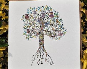 Owl Tree Greeting card 6x6''