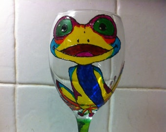 Psychedelic Poison Dart Frog Large Hand Painted Wine Glass