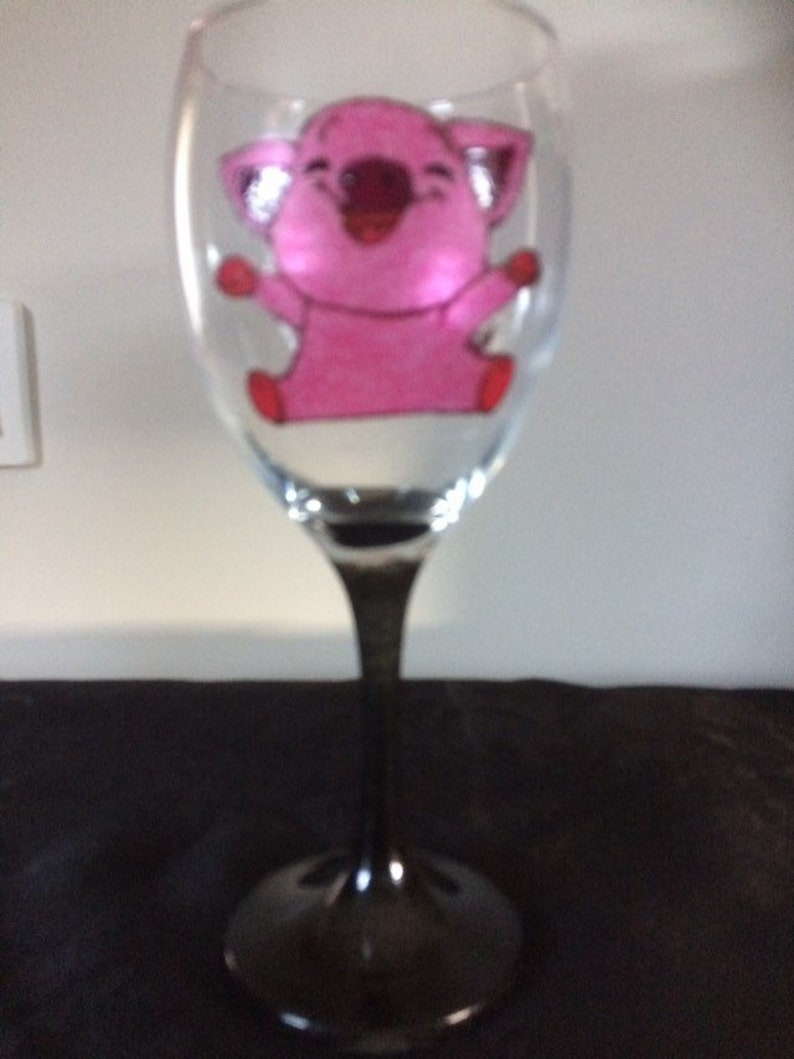 Cute Pink Pig Large Hand Painted Wine Glass