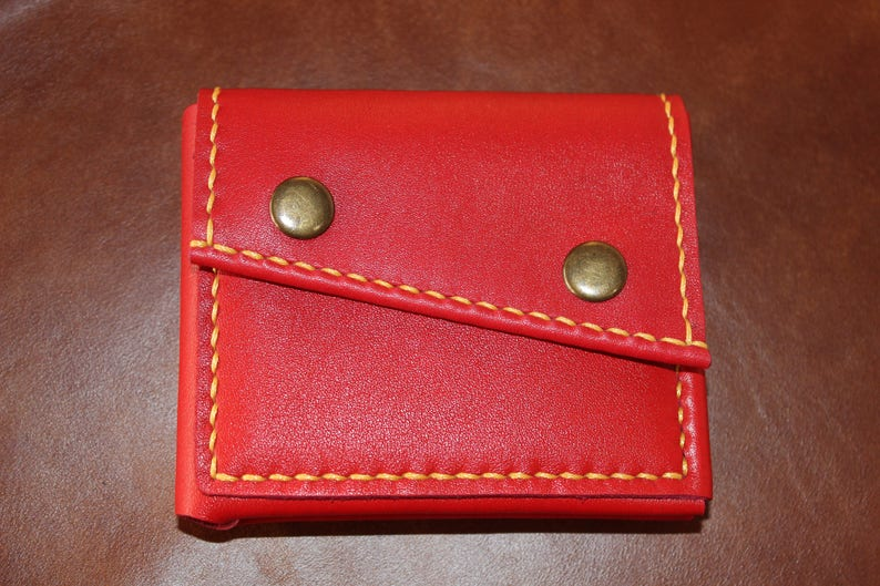 A women/'s leather wallet with a rune of money Red leather handmade wallet Red leather purse yellow waxed thread. women/'s purse red