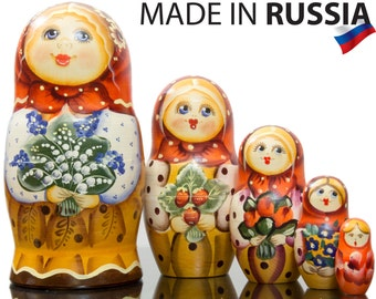 "Russian Nesting Doll - ""Masha. Lilies of the valley."" - MEDIUM SIZE - 5 dolls in 1 - Hand Painted in Russia - Matryoshka Babushka"