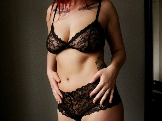 a9d7482d83170 Black Lace Lingerie Set   Black lace soft underwear set