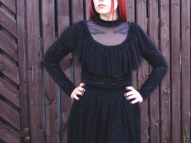 Black Lace Victorian Ruffle Longsleeves Blouse  Gothic Victorian Lace Ruffle Turtleneck Blouse Black Gothic Longsleeves Lace Victorian Top
