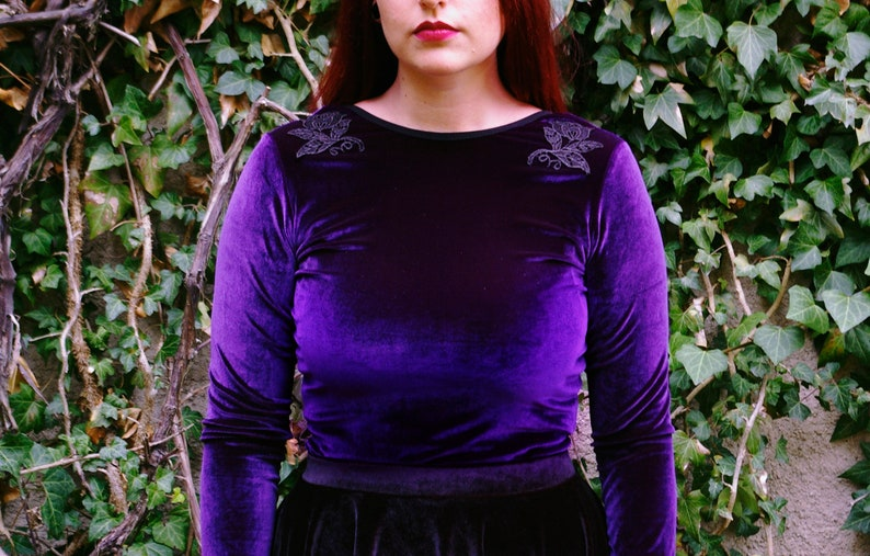 Purple velvet crop top with embroidered lace applique royal etsy