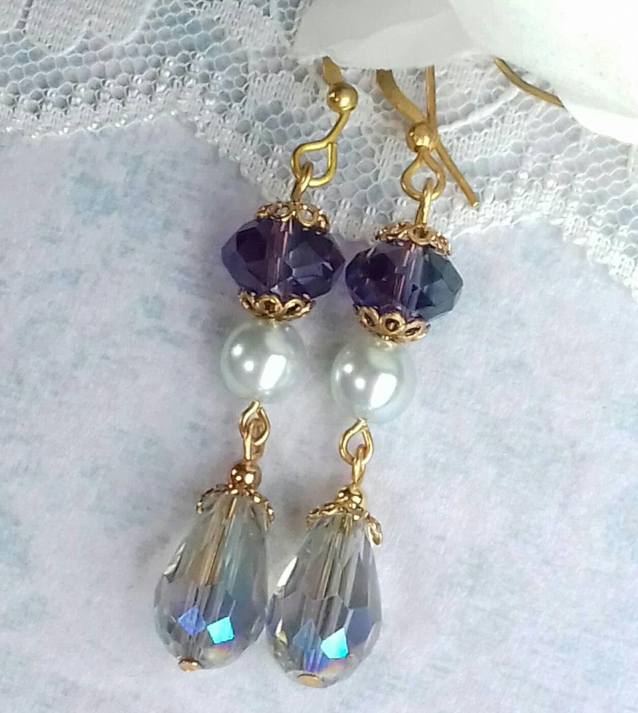 Sapphire Glass Rondelles Light Blue Earrings Drops Turquoise Dangles