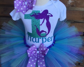 b973aef47 Mermaid Birthday Outfit, Under the Sea Birthday, Little Mermaid Birthday  Tutu Outfit Dress Set Handmade - ANY Age - Quick Ship