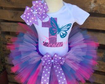 Butterfly Birthday Tutu Outfit Dress Set Handmade