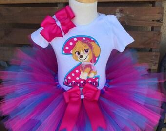 1fff06b9e Skye Paw Patrol Birthday Tutu Outfit Dress Set Handmade 1st 2nd 3rd