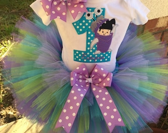 9f331b2a9 Boo Monsters Inc Birthday Party Tutu Outfit Dress Set Handmade 1st 2nd 3rd