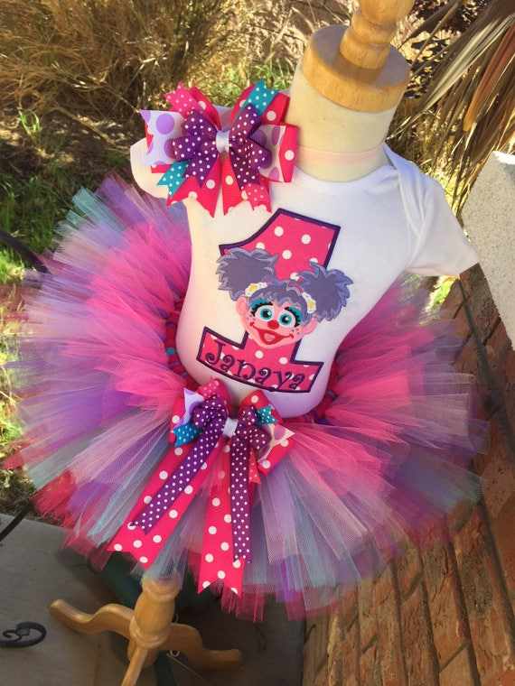 Abby Cadabby Birthday Tutu Outfit Dress Set Handmade Sesame Street Party 1st 2nd 3rd In Pinks Purples And Aqua