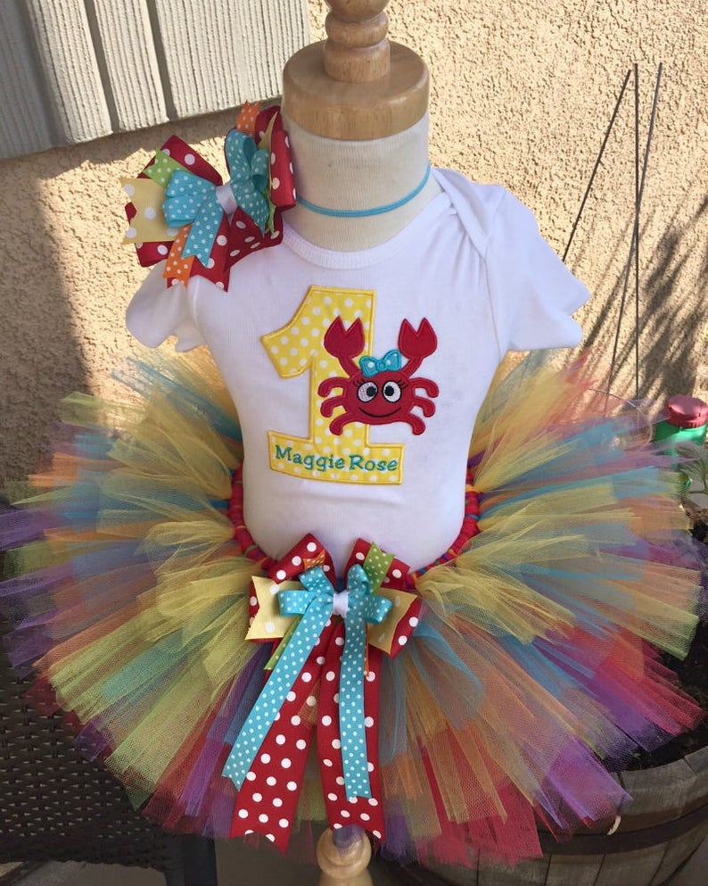 23d0e868b Crab Seaside Mermaid Beach Birthday Tutu Outfit Dress Set | Etsy