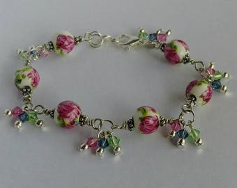 Roses Wire Wrapped Bracelet with Swarovski Crystal multicolour dangles