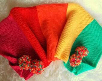wool plaid blanket 80/55 cm Rainbow blanket made rainbow hand knit gift baby blanket