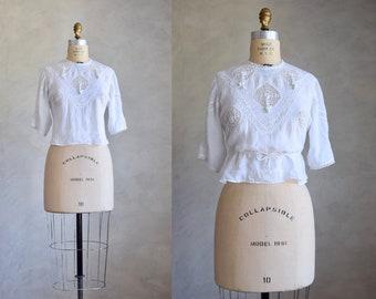 antique cotton and crochet blouse | antique cotton gauze crochet lace top | edwardian white cotton blouse | cropped bohemian top