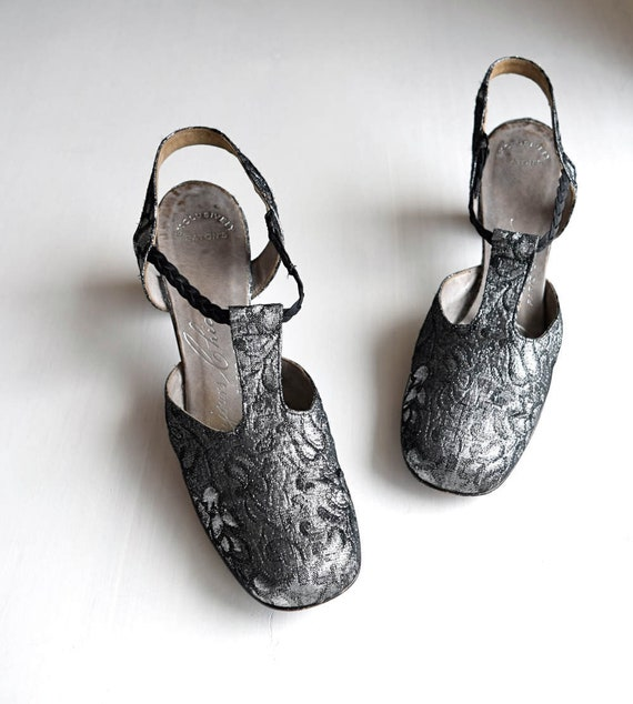 vintage 1960s black and silver brocade heels   bra