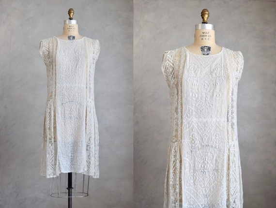 vintage 1920s white embroidered dress | 1920s auth