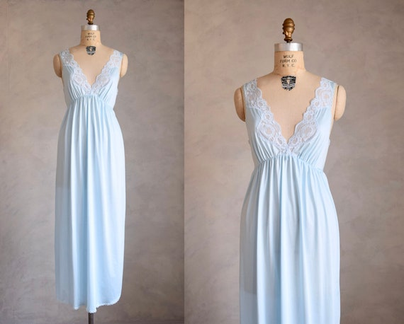 vintage 80s icy blue long nightgown | 1980s 70s bl