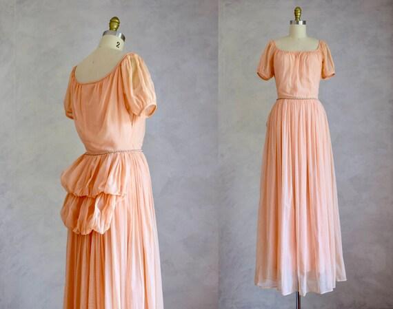 vintage 1940s maxi dress | 40s vintage gown | peac