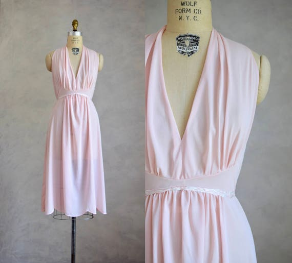 vintage 1950s pale pink nightgown vintage halter nightgown  1c2eb2a84