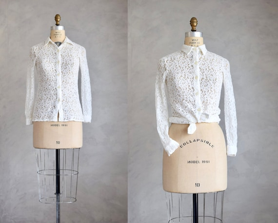 vintage lace blouse | 1980s 90s semi-sheer lace to