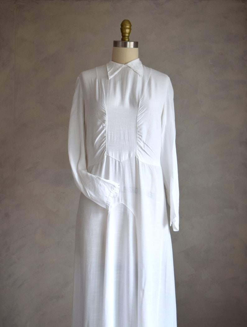 simple white vintage wedding dress vintage 30s white gown vintage 1930s wedding dress long sleeve wedding gown