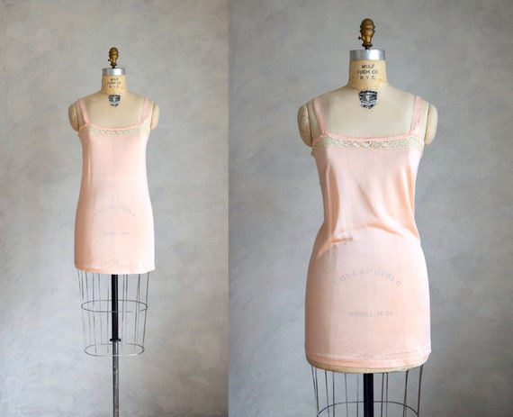 vintage 1930s 40s rayon knit slip | pale pink rayo