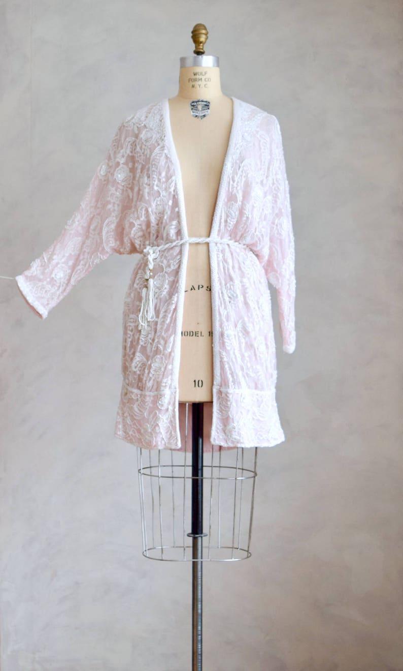 vintage embellished cardigan duster boho beaded bridal coverup vintage pale pink beaded cocoon coat 80s does 1920s flapper jacket