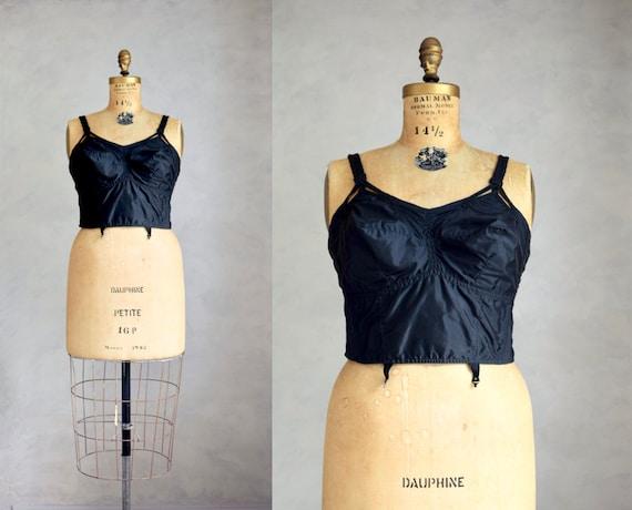 vintage 1950s Wonder-Bra   50s longline pointy nyl