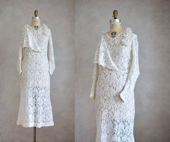 vintage 1920s lace wedding gown | vintage 20s 30s