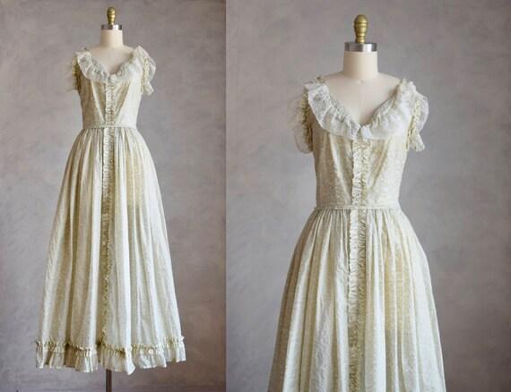 vintage 1940s gown | 40s vintage block print gown