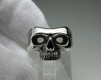 Skull (Mask) ring - half jaw skull mask ring - silver 925