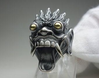 Rangda ring - Bali mask ring - sterling silver 925