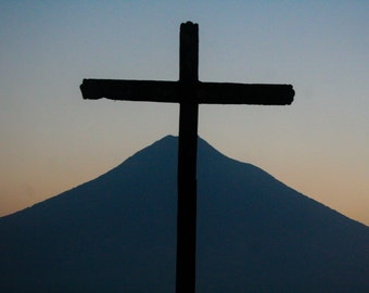 The Volcano and the Cross. Travel Photography. Fine Art Print. Wall Art. Guatemala. Religious Picture. Central America.