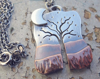 Tree with Moon, sterling silver and copper pendant