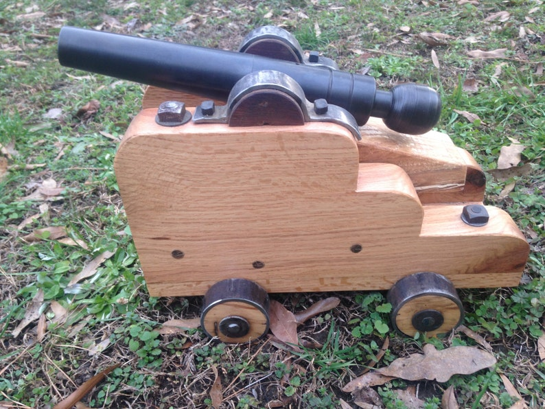 Hand-Crafted Black Powder Signal Cannon with Solid Oak Carriage