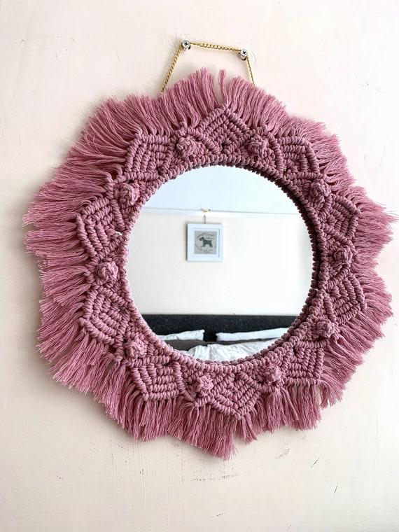 Macrame Mirror Glass Round Mirror   Bohemian Mirror   Boho Mirror   Mandala Mirror   Glass Mirror   Pink Macrame Hanging Mirror