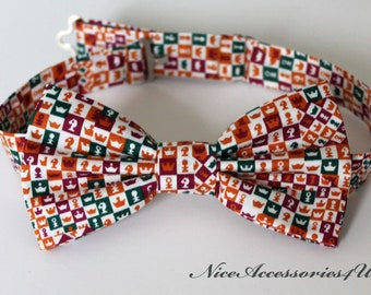 f90def76918c Chess bow tie for men. Liberty of London print Checkmate in orange, burgundy  & green. Gift for chess player. Liberty print bow tie.