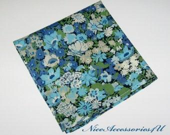 ada6511379 Men s floral pocket square. Liberty print Thorpe in blue   green. Wedding  pocket square. Aqua Liberty handkerchief