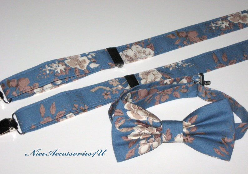 Steel blue floral bow tie /& suspenders for men and boys BabyToddlers bowtie and braces. Wedding bow tie copen