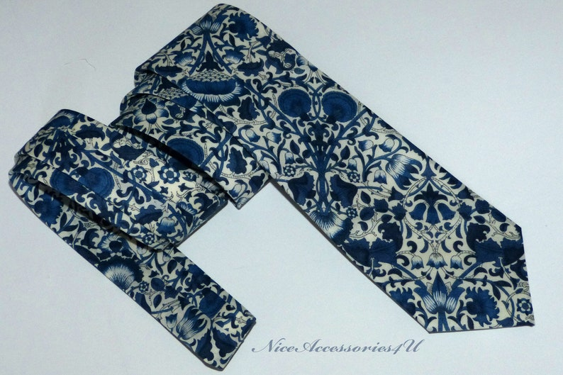 ccc4cd78d912 Men's Liberty print tie Navy blue wedding necktie. Skinny | Etsy