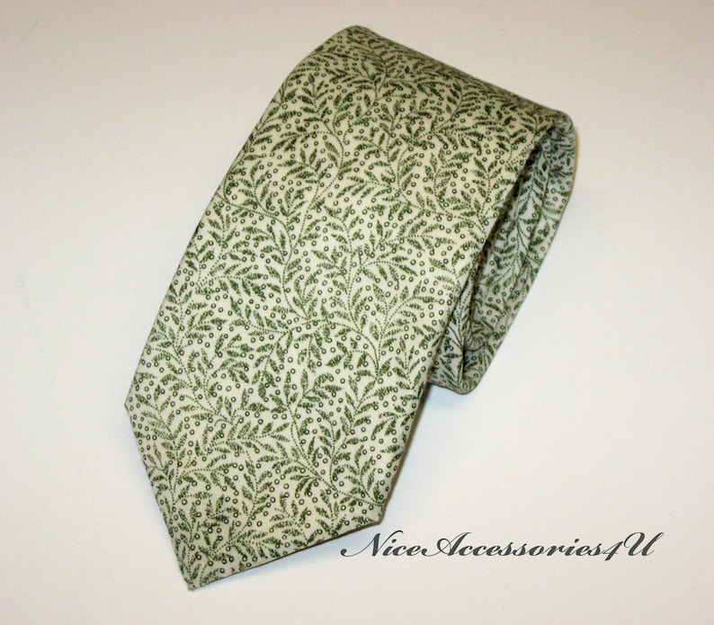 0db6686815f7 Liberty print tie olive green. Floral skinny tie for men. | Etsy
