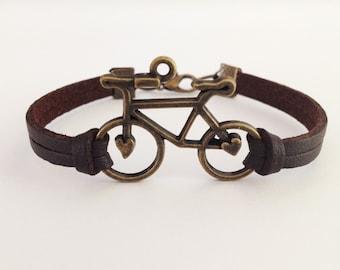 Bicycle bracelet Bike bracelet Antique Bronze Bicycle bracelet Friendship bracelet Boyfriend bracelet Brown Leather bracelet